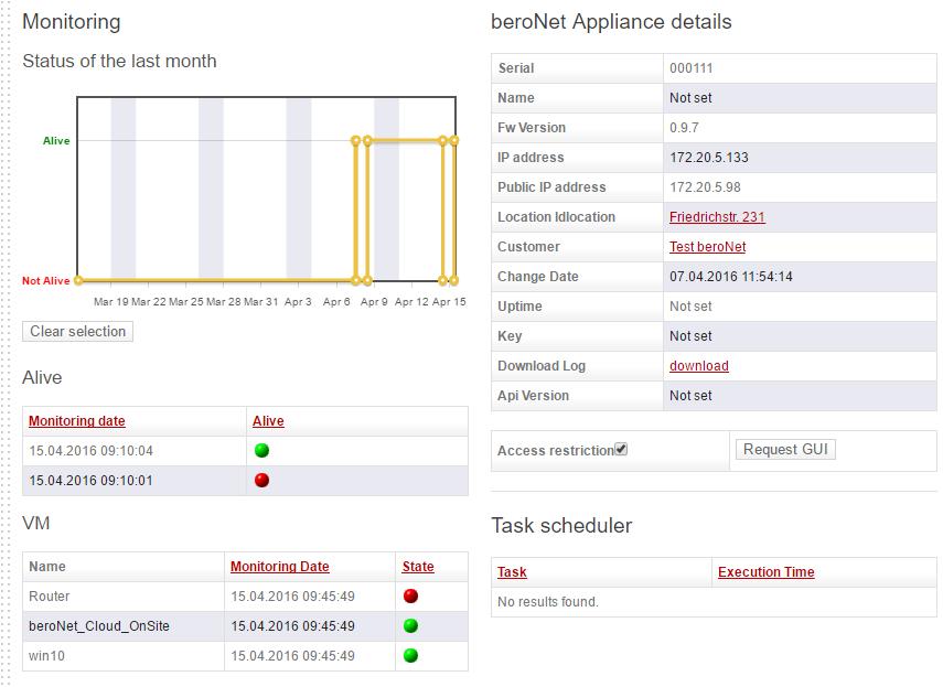 beroNet Appliance 2.0 in the Cloud: Screenshot 2