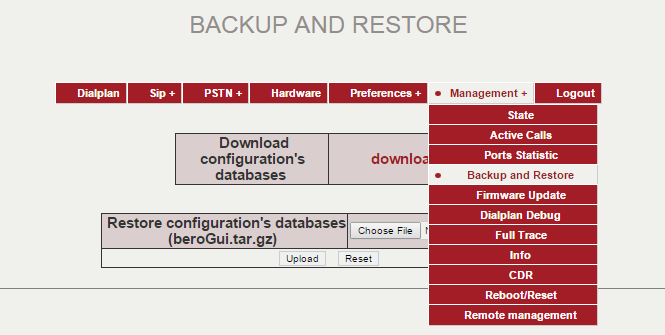 (Management->Backup and Restore)
