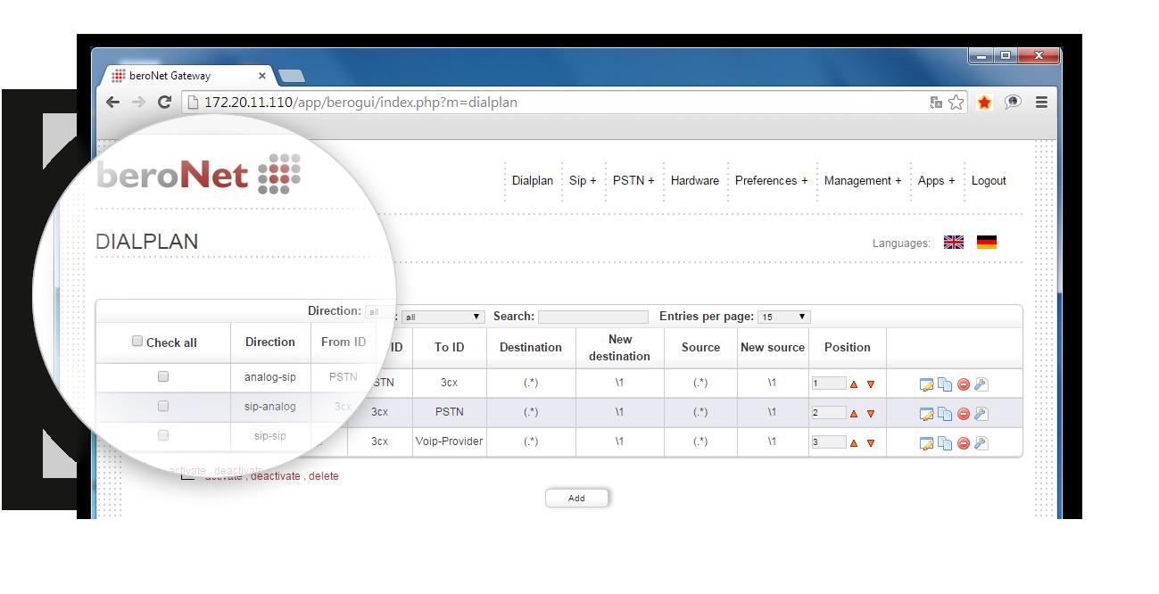 Der Dialplan ist das Herzstück der Konfiguration eines beroNet VoIP Gateways. Hier wird die Zu- und Verteilung der Rufe definiert.
