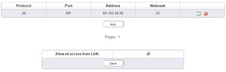 Theoretisch sollte nur der SIP-Port oder SIP-TLS offen sein und der Rest nicht. Die Konfiguration der ACL könnte dazu wie folgt aussehen: