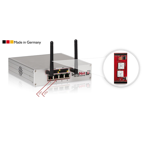 The beroNet VoLTE Gateway includes 2 or 4 LTE ports